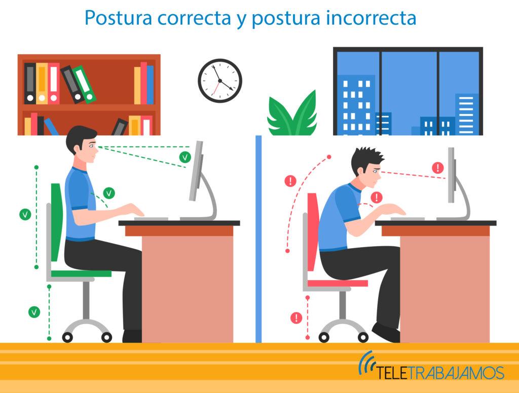 Las sillas ergonóicas de oficina nos ayudarán a mantener una postura correcta